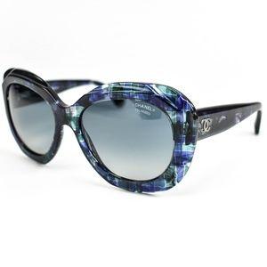 "CHANEL Blue Mosaic & ""CC"" Polarized Sunglasses (OZ"